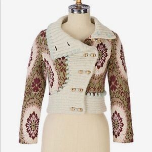 Anthropologie Floral Wool Blend Cardigan Size S